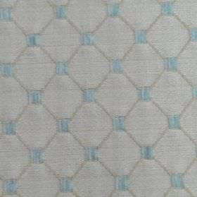Omega - Cornflower - Baby blue and light shades of grey making up a thin diagonal grid & small squares on polyester, cotton & acrylic fabric