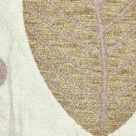 Orvieto - Natural - Large creamy brown leaves with silver-grey veins patterning a white polyester and viscose blend fabric background