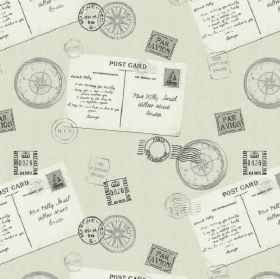 Voyage - Linen - White postcards with grey stamps and compasses on a pale grey-green coloured 100% cotton fabric background