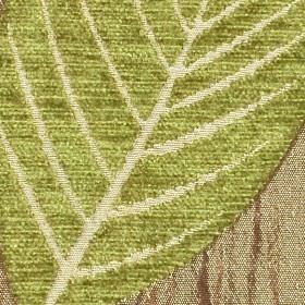 Orvieto - Taupe Olive - Fabric made from polyester and viscose in light beige, olive green and light brown, with a large, stylish leaf desig
