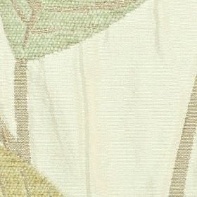 Orvieto - Teal - Polyester and viscose blend fabric made in pastel shades of green, grey and gold, on white polyester and viscose fabric