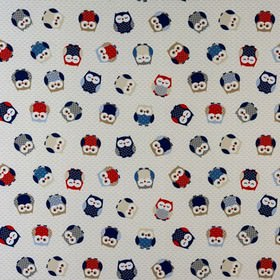 Owls - Blue - Owl print patterned 100% cotton fabric, with a fun design in bright red, sky blue, navy and light and dark shades of grey