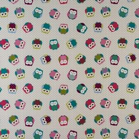 Owls - Multi - Various shades of pink, green, purple, blue and grey making up a fun owl print on fabric made from 100% cotton
