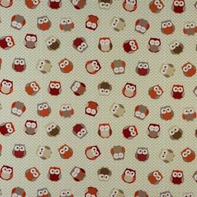 Owls - Red Orange - 100% cotton fabric made in white and light and dark shades of red and grey, featuring a fun owl print pattern
