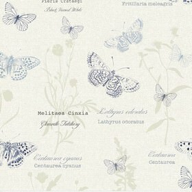 Papillon - Chambray - Navy, light blue and pale grey detailed butterflies printed with flowers and text on white 100% cotton fabric