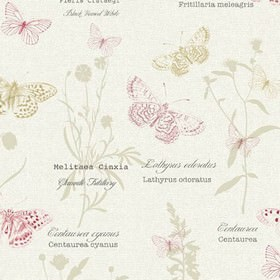 Papillon - Spring - White 100% cotton fabric printed with text and flowers in light grey, and detailed butterflies in beige and dark pink
