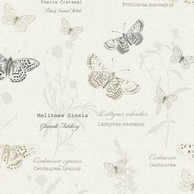 Papillon - Harvest - Light and dark shades of grey making up a pattern of detailed butterflies, flowers and text on 100% cotton fabric in whit