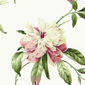 Peony - Chintz - Realistic flowers and leaves printed in shades of emerald green, off-white and dark pink on white 100% cotton fabric