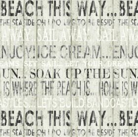 Boardwalk - Linen - 100% cotton fabric made in shades of grey, black and white, printed with text around a seaside and beach theme