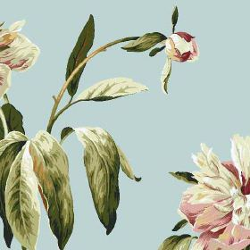 Peony - Duckegg - Baby blue 100% cotton fabric with pretty, realistic flowers in off-white and light pink shades, with dark green leaves
