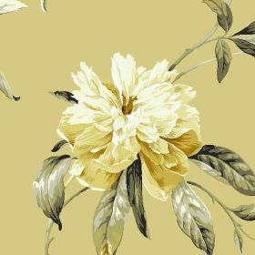Peony - Gold - 100% cotton fabric made in creamy beige, with an elegant, realistic floral pattern in white, light gold and dark grey