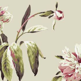 Peony - Linen - Pale grey, dusky pink, forest green and white coloured 100% cotton fabric featuring a pretty, realistic floral pattern