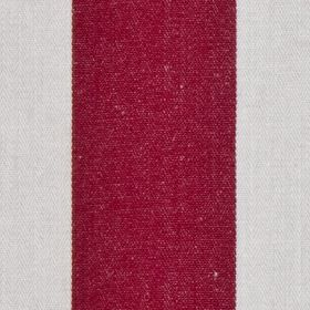 Pier Stripe - Red - Alternating burgundy and pale grey coloured vertical block stripes on 100% cotton fabric