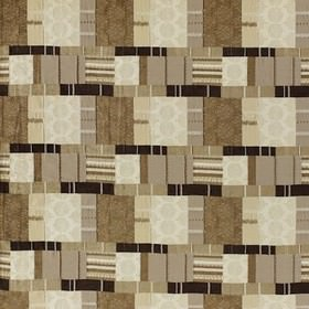 Prague - Natural - Patchwork style polyester, viscose and cotton fabric, withswirls, stripes and patterns in light brown and cream shades