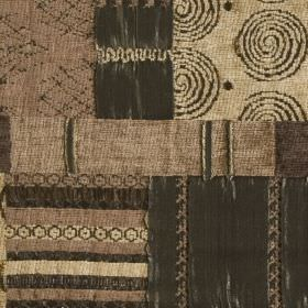 Prague - Olive - Light brown, chocolate and espresso shades making up a patchwork style swirl, stripe and pattern print on blended fabric