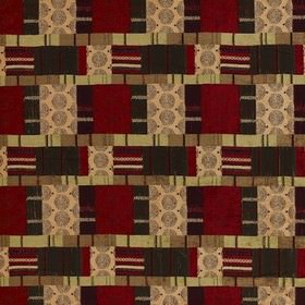 Prague - Plum - Polyester, viscose and cotton fabric with patchwork style swirls, stripes and patterns in caramel, cherry and olive green