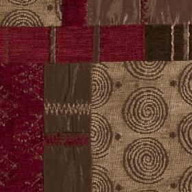 Prague - Rosso - Light brown, chocolate and maroon coloured polyester, viscose and cotton fabric with a patterned patchwork style print