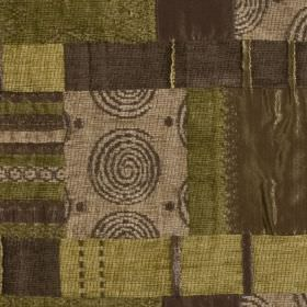 Prague - Tan - A patterned patchwork style design in shades of olive green and light and dark brown on polyester, viscose and cotton fabric