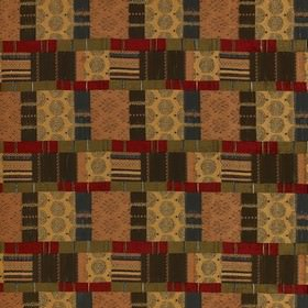 Prague - Terracotta - Orange, grey, maroon and olive green coloured, patterned patchwork style polyester, viscose and cotton blend fabric