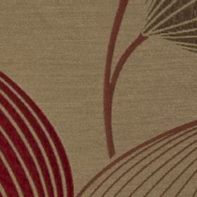 Rhapsody - Rosso - Curving lines making up an elegant leaf pattern in dusky pink, maroon and brown shades on polyester and viscose fabric