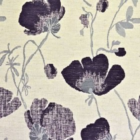 Serafina - Aubergine - A large, slightly blurred pattern printed on polyester, acrylic and linen fabric in bright white, iron grey and black