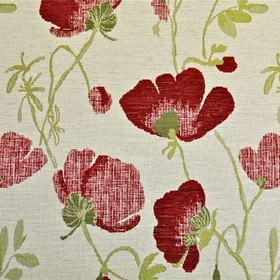 Serafina - Rouge - Rough floral patterns made in pale green-yellow, olive green  and bright red, on white polyester, acrylic & linen fabric