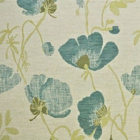 Serafina - Teal - Polyester, acrylic and linen blend fabric with a large, rough floral design in white, pale yellow, olive green and sky blue