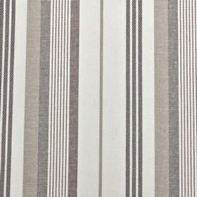 St Michel Stripe - Charcoal - Thin dove grey coloured stripes running vertically down chalk white coloured 100% cotton fabric
