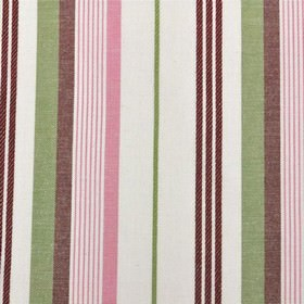 St Michel Stripe - Chintz - Light, fresh shades of pink, green and white making up a thin, simple vertical stripe design on 100% cotton fabr