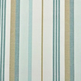 St Michel Stripe - Eggshell - 100% cotton fabric made in white and light gold, featuring a thin, very simple vertical stripe