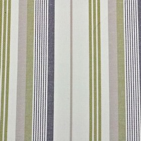 St Michel Stripe - Grape - A thin, simple ash grey coloured stripe creating a vertical design on fabric made from white 100% cotton