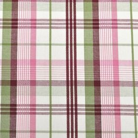 St Tropez - Chintz - 100% cotton fabric in white, featuring a stylish checked design in dark pink, dark purple and mulberry shades