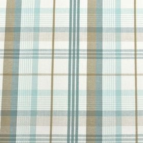 St Tropez - Eggshell - Light blue, light grey and white colours making up a stylish, fresh checked design on practical 100% cotton fabric