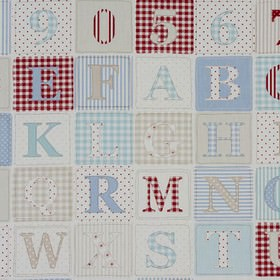 ABC - Blue - Dusky red, cream, pale blue and white squares containing numbers and letters on fabric made entirely from cotton