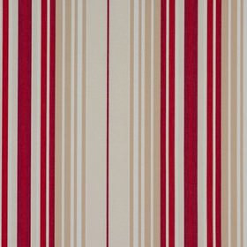 Beachcomber - Rouge - 100% cotton fabric with a vertical striped design in white, cream, dark red and raspberry colours