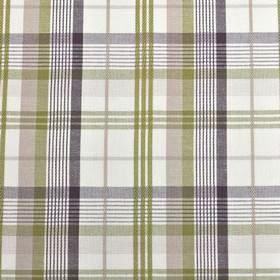 St Tropez - Grape - Fabric made from checked 100% cotton, with white, olive green and grey shades making up a stylish design