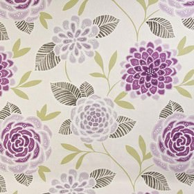 Sumatra - Grape - White 100% cotton fabric printed with a pretty, stylised floral design in beige and shades of grey and violet