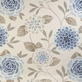 Sumatra - Navy - Light shades of grey and blue making up a pretty, stylised floral pattern on fabric made from 100% cotton