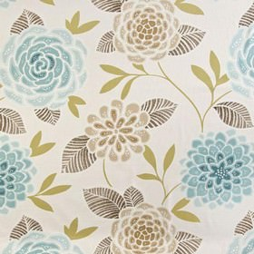 Sumatra - Teal - Fabric made from 100% cotton in white, with pretty, stylised florals in dark grey and various shades of brown and beige
