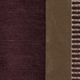 Taipei II - Aubergine - Polyester and viscose blend fabric featuring solid and striped vertical bands of grey-brown and very dark purple col