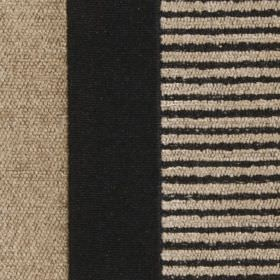 Taipei II - Black - Solid and striped bands creating a warm cream and black coloured vertical design on polyester and viscose blend fabric
