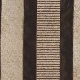 Taipei II - Chocolate - Fabric made from polyester and viscose in charcoal and stone colours, featuring a solid and striped vertical band de