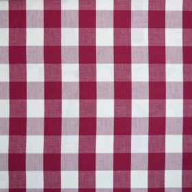 Breeze - Rouge - Raspberry and lilac coloured checks running over white fabric made from 100% cotton