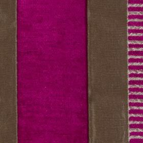 Taipei II - Fuchsia - Vivid fucshia and dark grey coloured solid and striped vertical bands running down fabric made from polyester and viscos