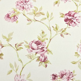 Toulon - Chintz - Fabric made from floral patterned 100% cotton in white, with a pretty design shaded in dark pink and lime green tones