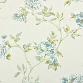 Toulon - Eggshell - White 100% cotton fabric featuring a pretty shaded floral design in light, fresh shades of blue and green