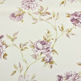 Toulon - Rose - Pretty floral designs patterning fabric made from 100% cotton in white, dark gold and light lilac shades