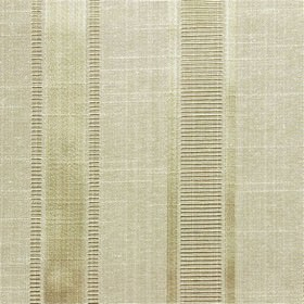 Wordsworth - Antique - Short, thin, dark brown and white horizontal lines arranged in vertical rows on stone coloured polyester & cotton fab