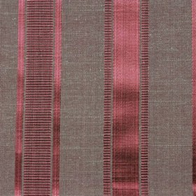 Wordsworth - Rose - Lustrous dark pink and grey making up a vertical stripe and thin horizontal line design on polyester and cotton fabric