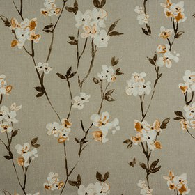 Alicia - Autumn - Flowers, leaves and branches printed in off-white and dark brown on cement grey coloured 100% cotton fabric